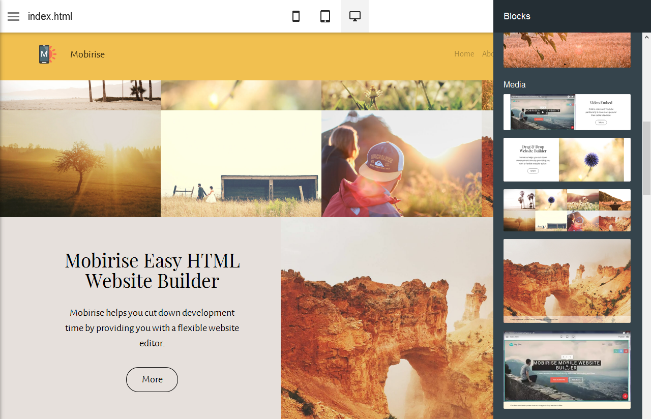 Mobirise Easy HTML Website Builder allows you to create a fully responsive website that can be accessed through PC or mobile devices.