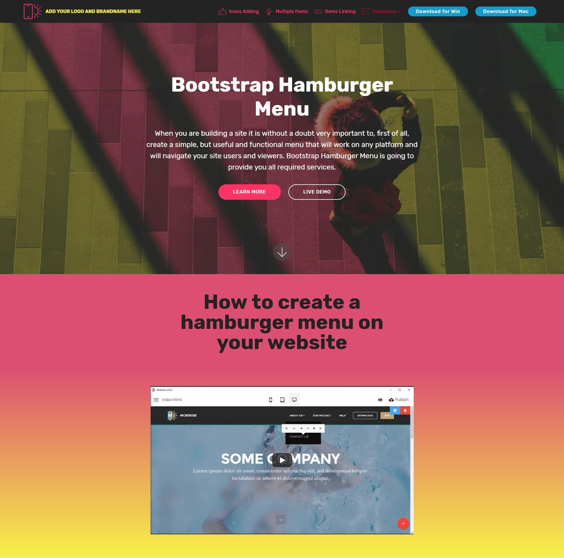 Bootstrap Hamburger Menu