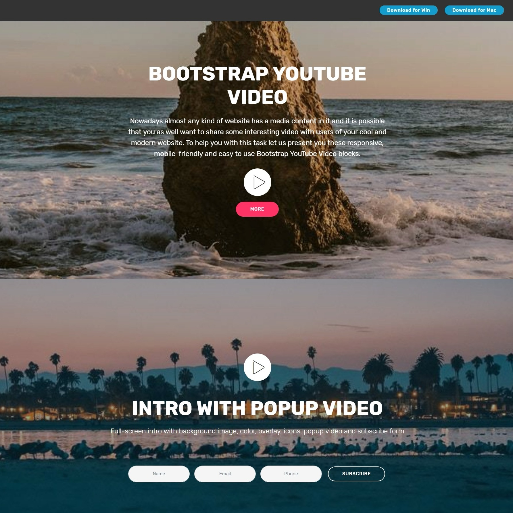 Creative CSS3 Bootstrap Responsive Video Backgrounds and Dropdown